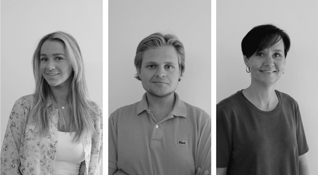 Sofie Lindseth, Markus Pettersen og Åsa Graff Ignell er nye markedskonsulenter hos Guru Utvikling